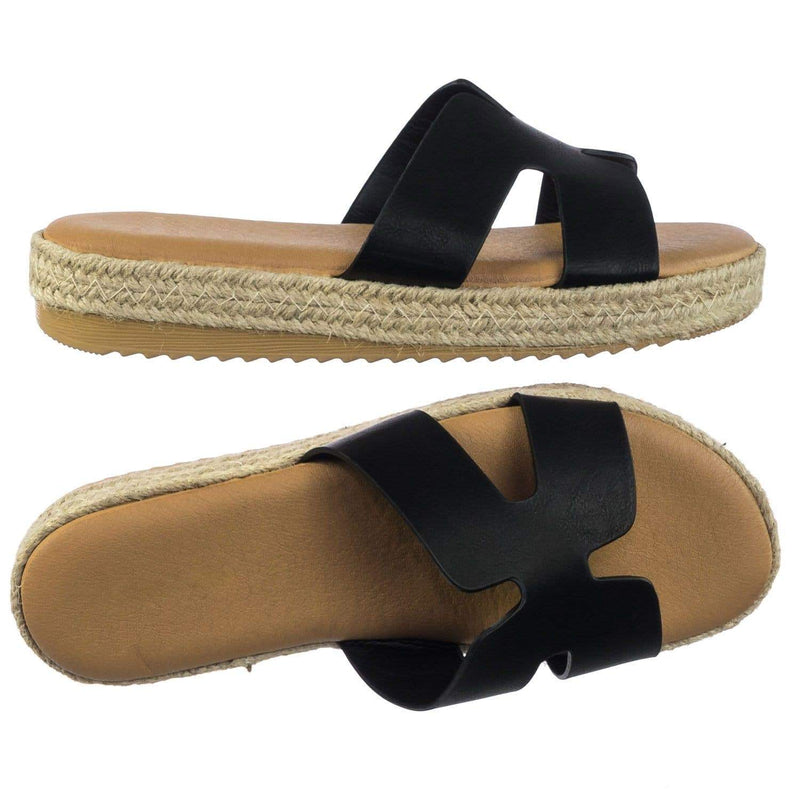 Superb01 BlkBnh Espadrille Rope Wrap Flatform Platform Slide Slipper w White Outsole