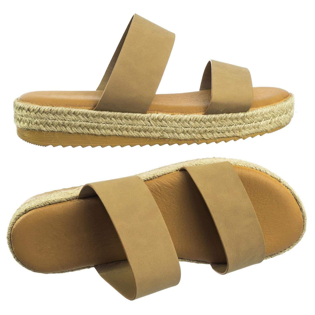 Superb03 BlushNub Espadrille Jute Rope Platform Slide In Slipper Flatform w Shark tooth