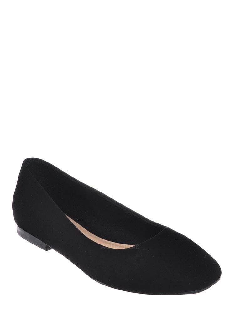 Black Nubuck / Sweep01 Square Toe Ballet Flats - Womens Solid & Cheetah Ballerina Padded Shoes