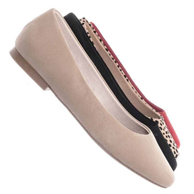 Sweep01 Square Toe Ballet Flats - Womens Solid & Cheetah Ballerina Padded Shoes