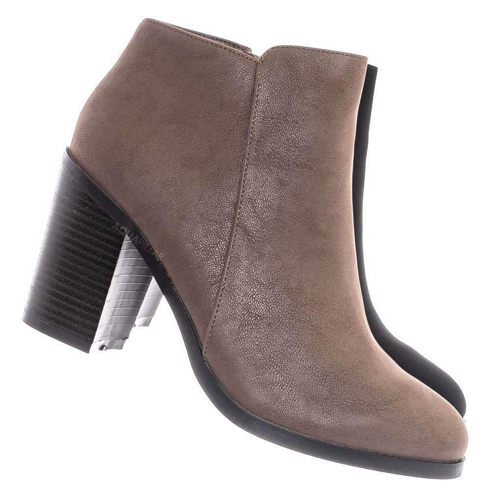 Taupe Beige / Sword24 Classic Chunky Stack Heel Bootie - Minimal Dress Ankle Boots