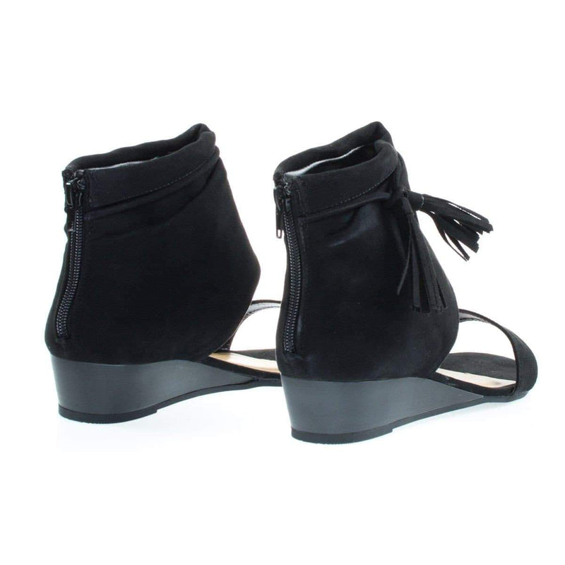 Talented06s By Bamboo, Low Wedge Sandal w Ankle Bootie Cuff & Tassel & Zipper