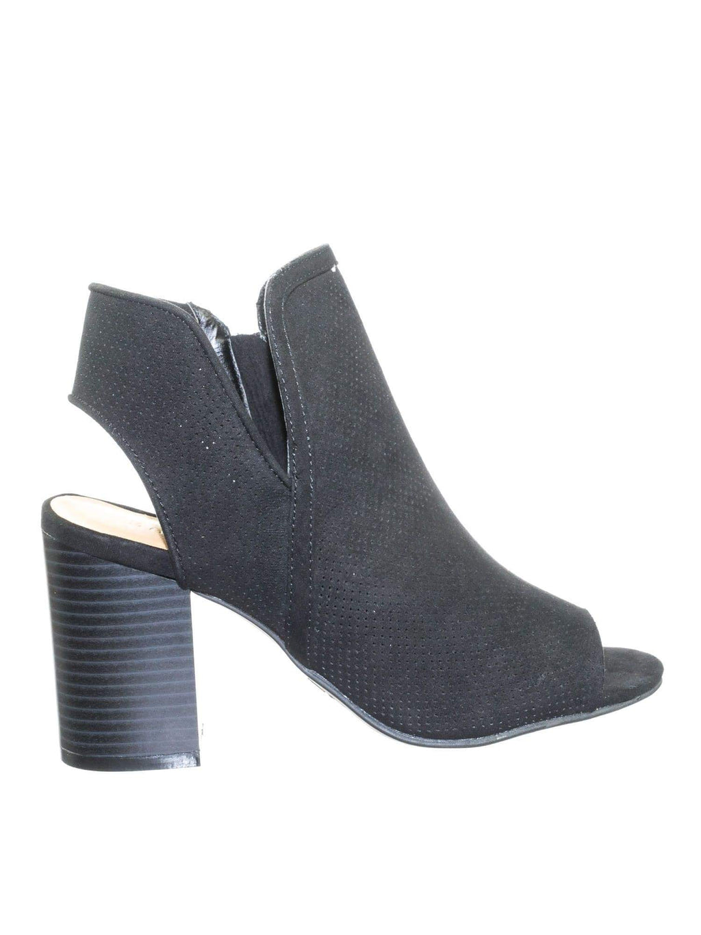 Taste18 TanFs Asymmetrical Slit Perforated Chunky Block Heel Peep Toe Ankle Bootie