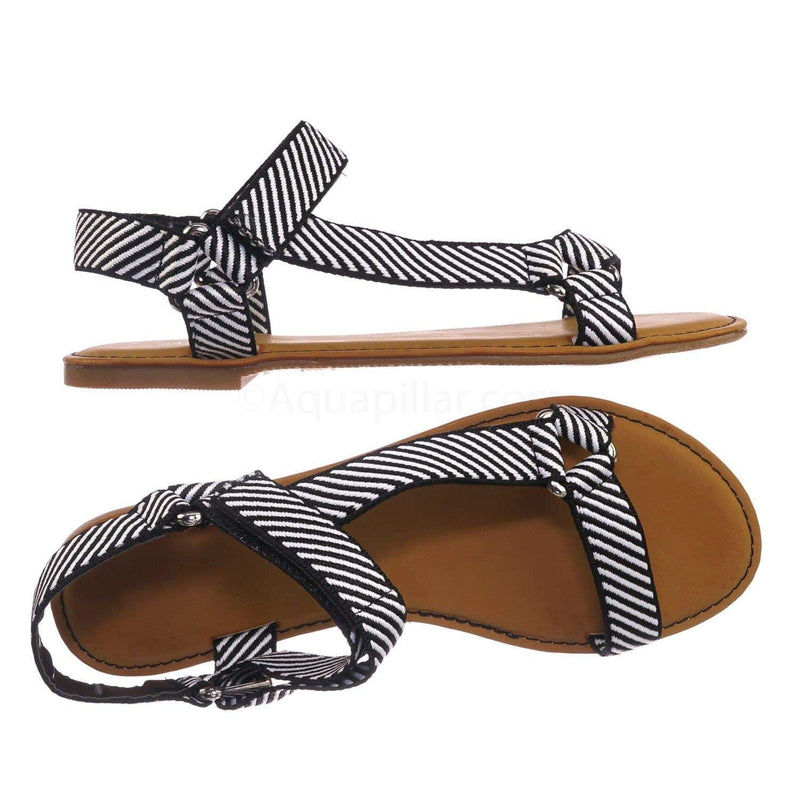 Black White Stripe / Thrive44 BlkWht Sporty Hook And Loop Sandal - Women Knit Strap Nylon Flats Shoes