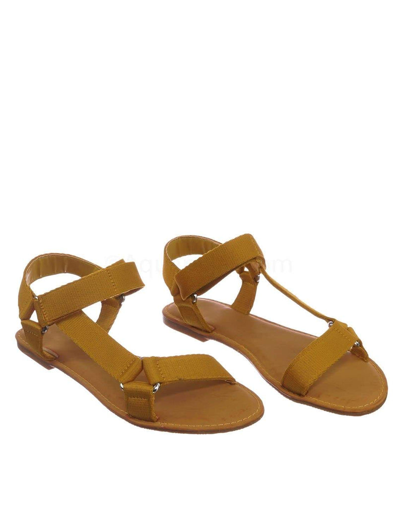 Marigold Yellow / Thrive44 MgdTap Sporty Hook And Loop Sandal - Women Knit Strap Nylon Flats Shoes