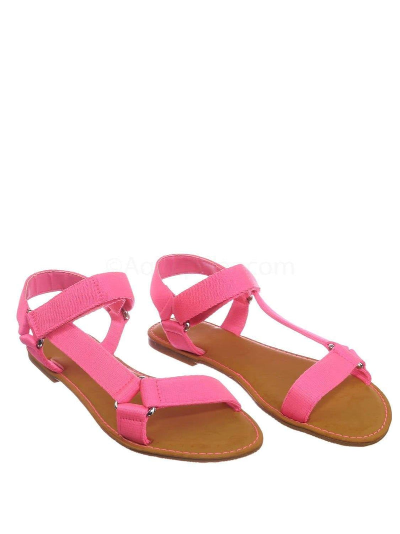 Hot pink / Thrive44 NPnkTap Sporty Hook And Loop Sandal - Women Knit Strap Nylon Flats Shoes
