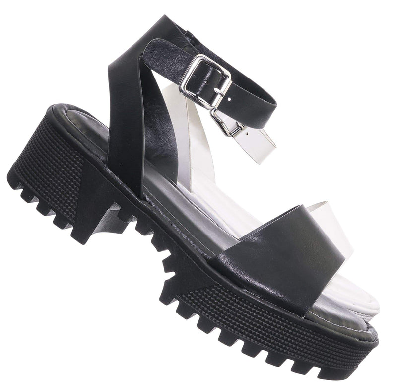 Black crp / Tough11 Clog Flatform Heel Sandals - Womens Fashion Double Strap Open Toe Shoe