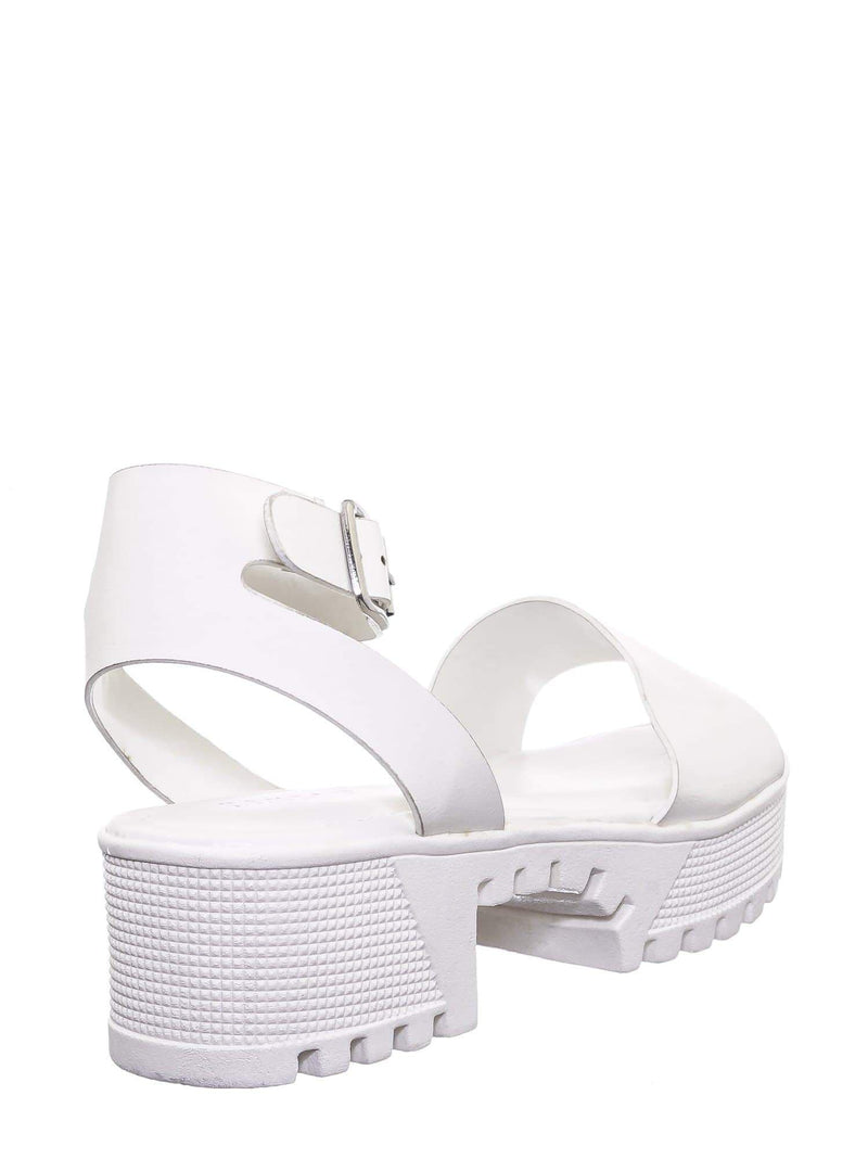 White crp / Tough11 Clog Flatform Heel Sandals - Womens Fashion Double Strap Open Toe Shoe