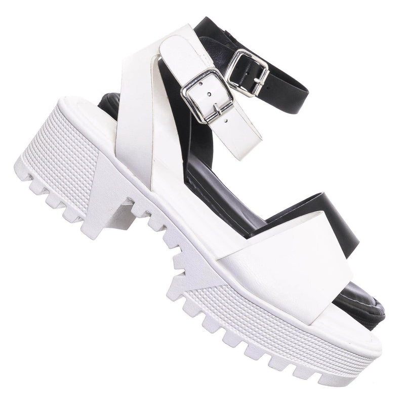 Tough11 Clog Flatform Heel Sandals - Womens Fashion Double Strap Open Toe Shoe
