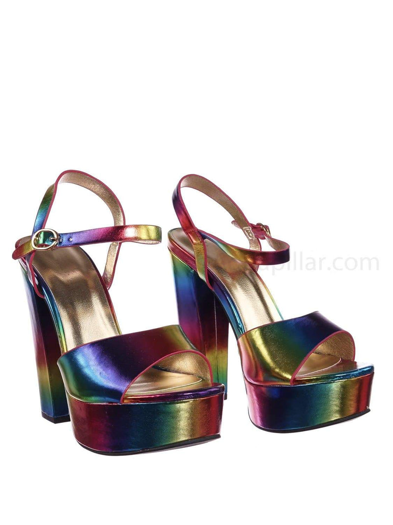 Tournament95 RanMpu Chunky Block Heel Platform Sandal - In Rainbow & Clear Lucite