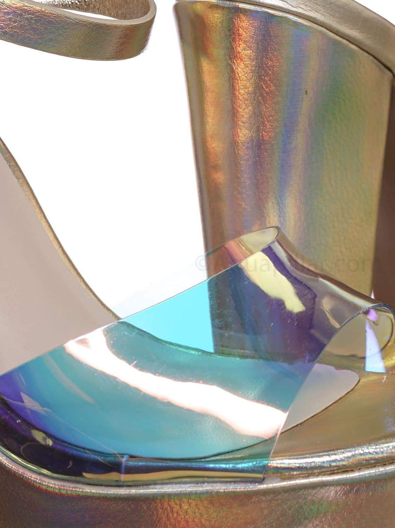 Tournament95 GldMpu Chunky Block Heel Platform Sandal - In Rainbow & Clear Lucite