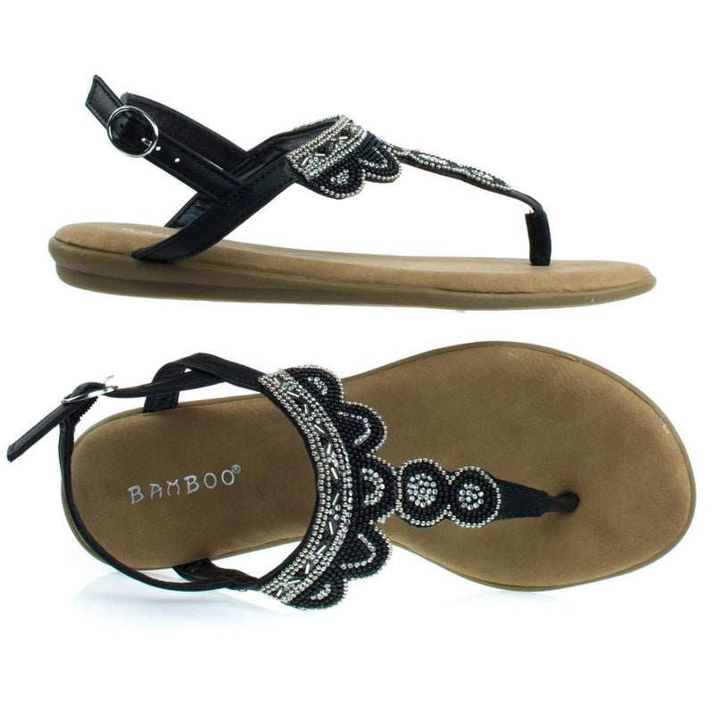Tundra59 Comfortable Padded Flat Sandal w Tribal Inspired Beads & Rhinestone