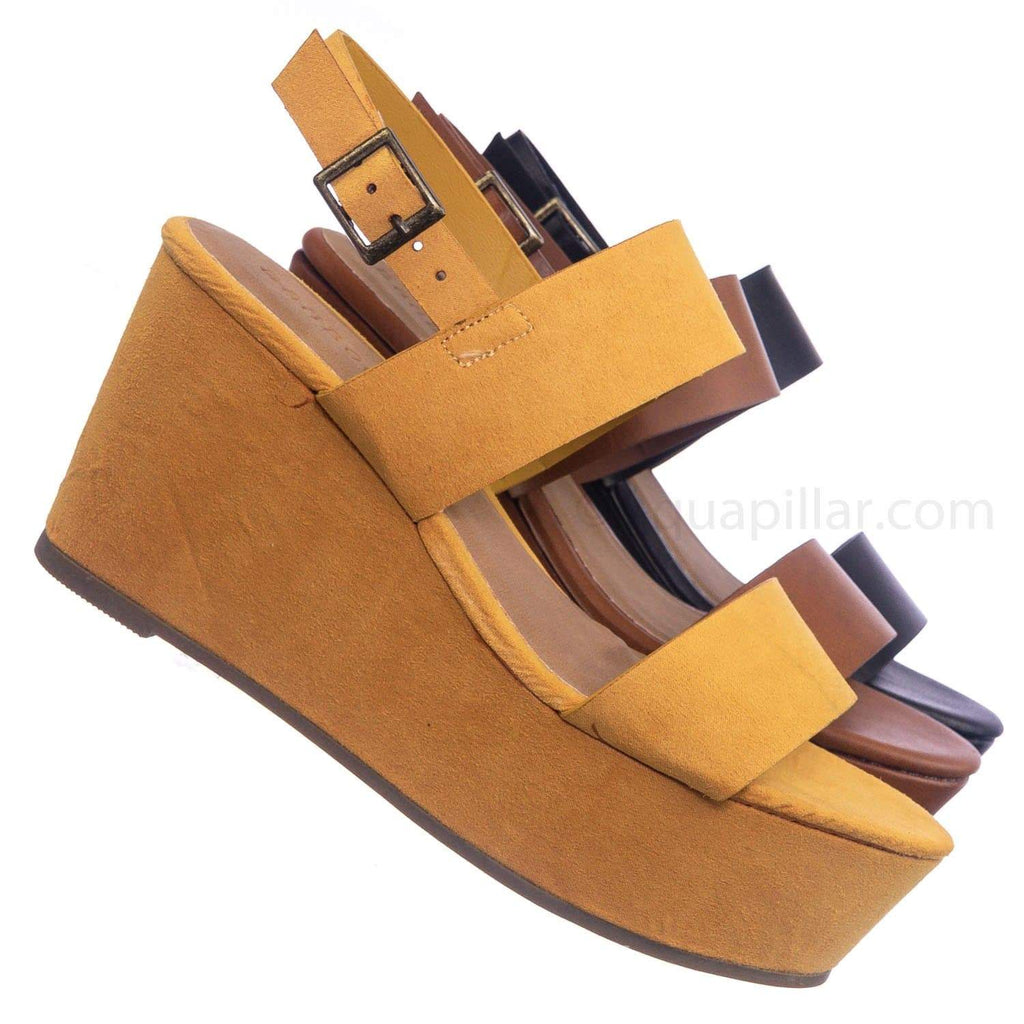 Marigold Yellow / Twins01 MgdFs Platform Wedge Open Toe Sandal - Womens Plain Open Toe Summer Shoes