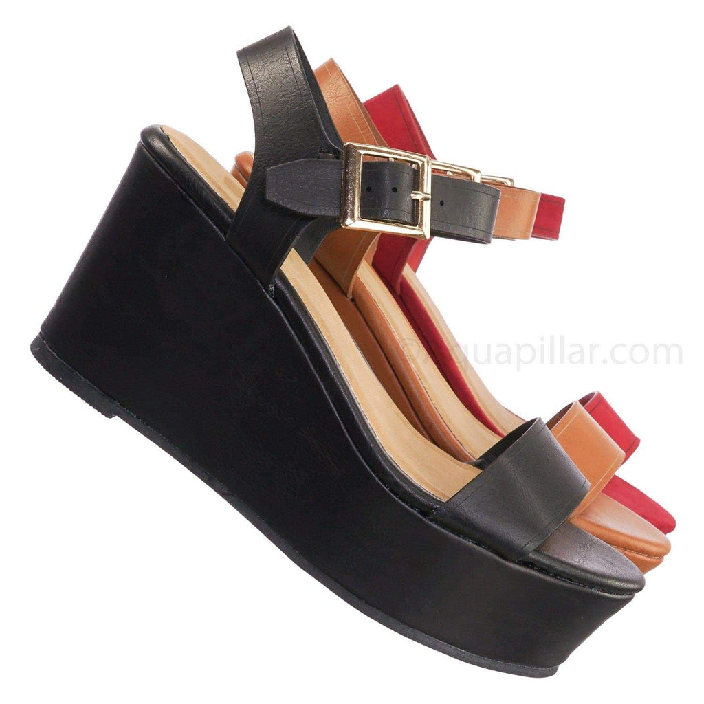 Twins02 BlkBnh Platform Wedge Sandal - Women Two Piece Buckle Open Toe Sandal