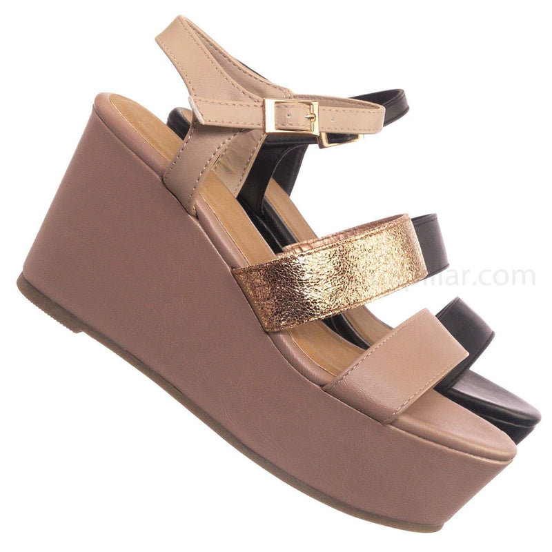 Blush Beige Multi Beige / Twins05 DBlushMul Platform Wedge Open Toe Sandal - Womens Solid & Multi Color