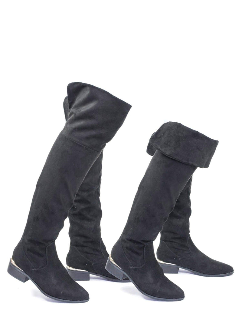 Ultimate18 BlkFs Foldable Slouch Knee High Dress Boots w Metal Strip & Faux Fur Lining