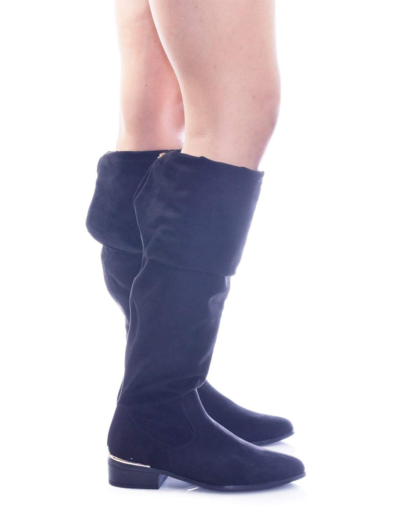 Ultimate18 Foldable Slouch Knee High Dress Boots w Metal Strip & Faux Fur Lining