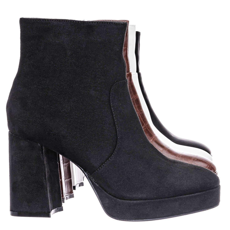 Underlined01 Platform Block Heel Bootie - Women Croc & Suede Ankle Pump Boot