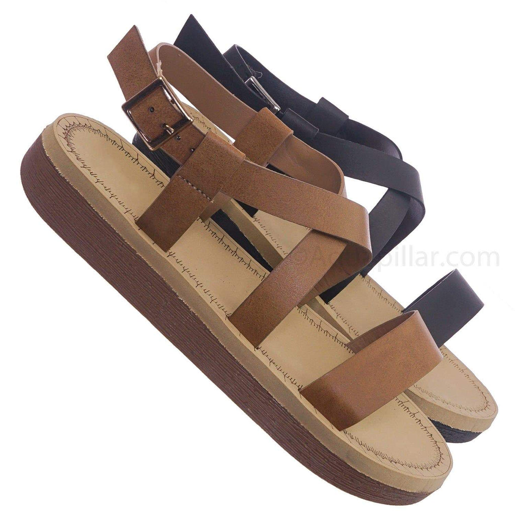 Tan Brown / Upraise32 TanBnh Soft Comfortable Foam Padded Sandal - Women Strappy Cage Flatforms