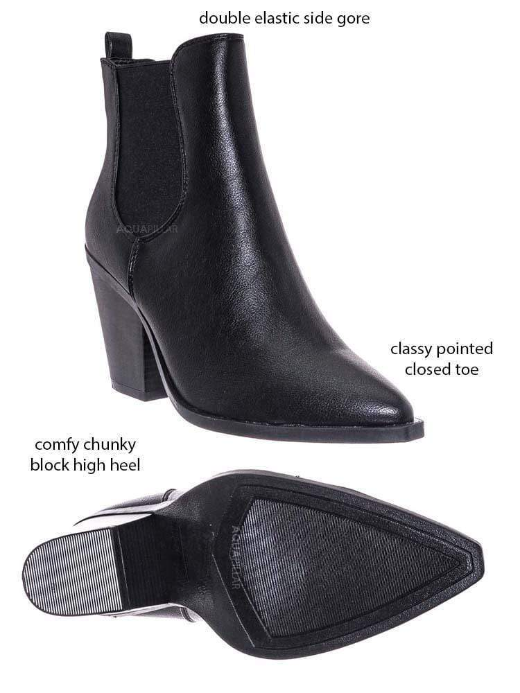 Black Leatherette / Upstream07 High Block Heel Chelsea Boots