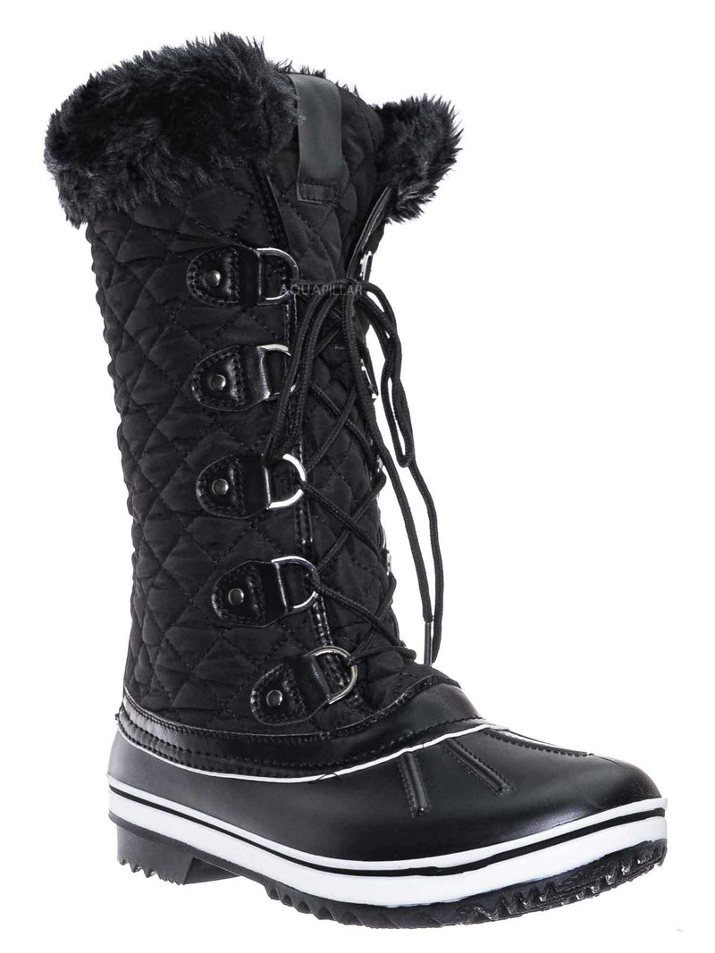 Black / Value18 Faux Fur Duck Tall Boots - Quilted & Tweed Snow Rain Shoe