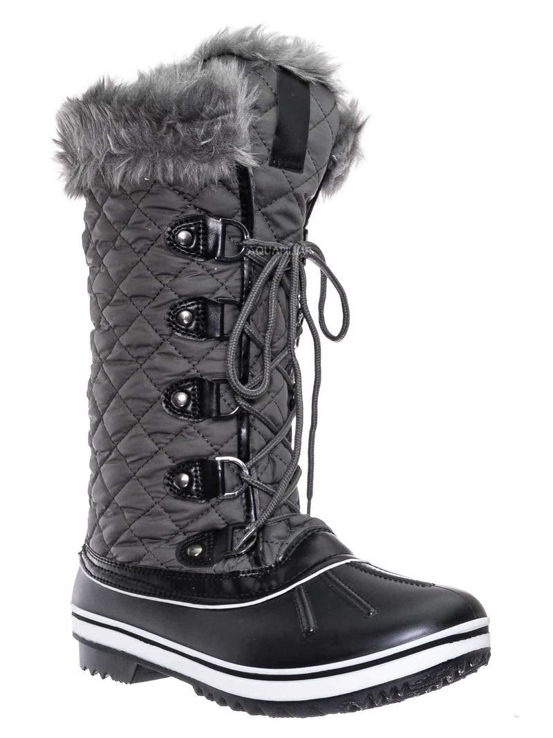 Gray / Value18 Faux Fur Duck Tall Boots - Quilted & Tweed Snow Rain Shoe