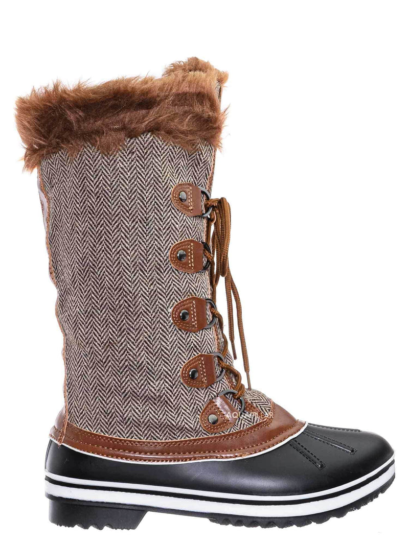 Tan / Value18 Faux Fur Duck Tall Boots - Quilted & Tweed Snow Rain Shoe