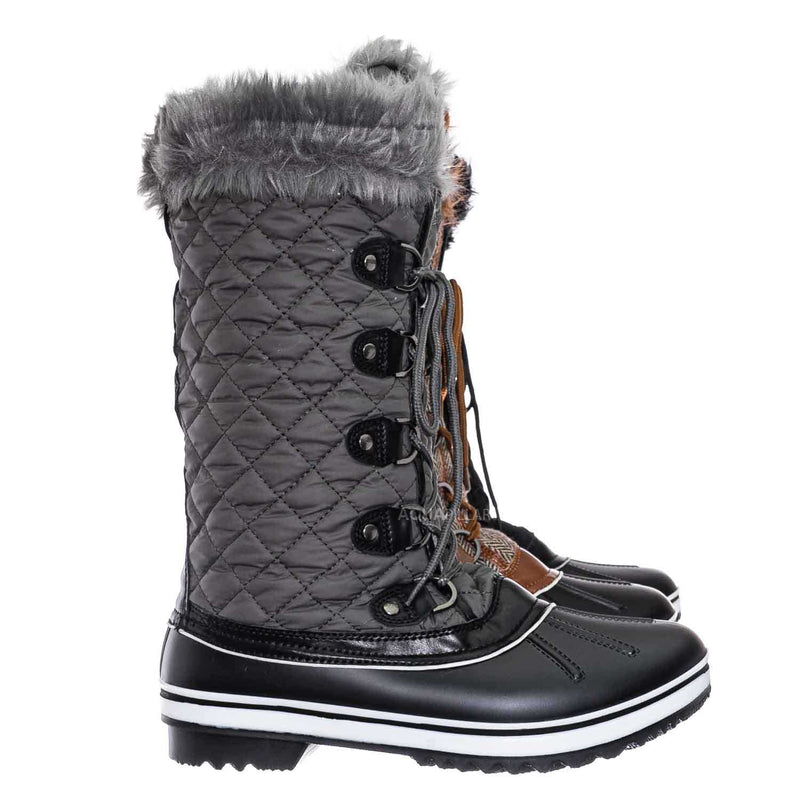 Value18 Faux Fur Duck Tall Boots - Quilted & Tweed Snow Rain Shoe