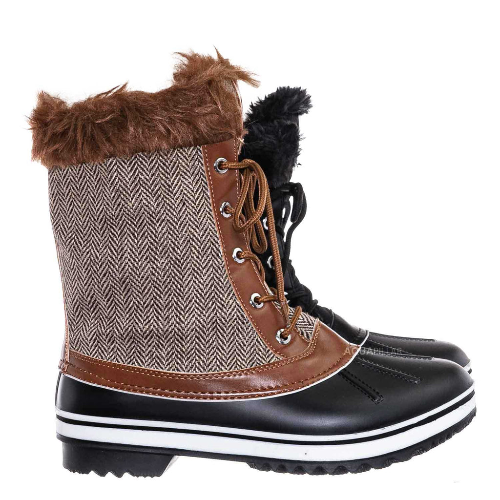 Tan / Value6 Faux Fur Duck Boots - Quilted & Tweed Snow Rain Shoe