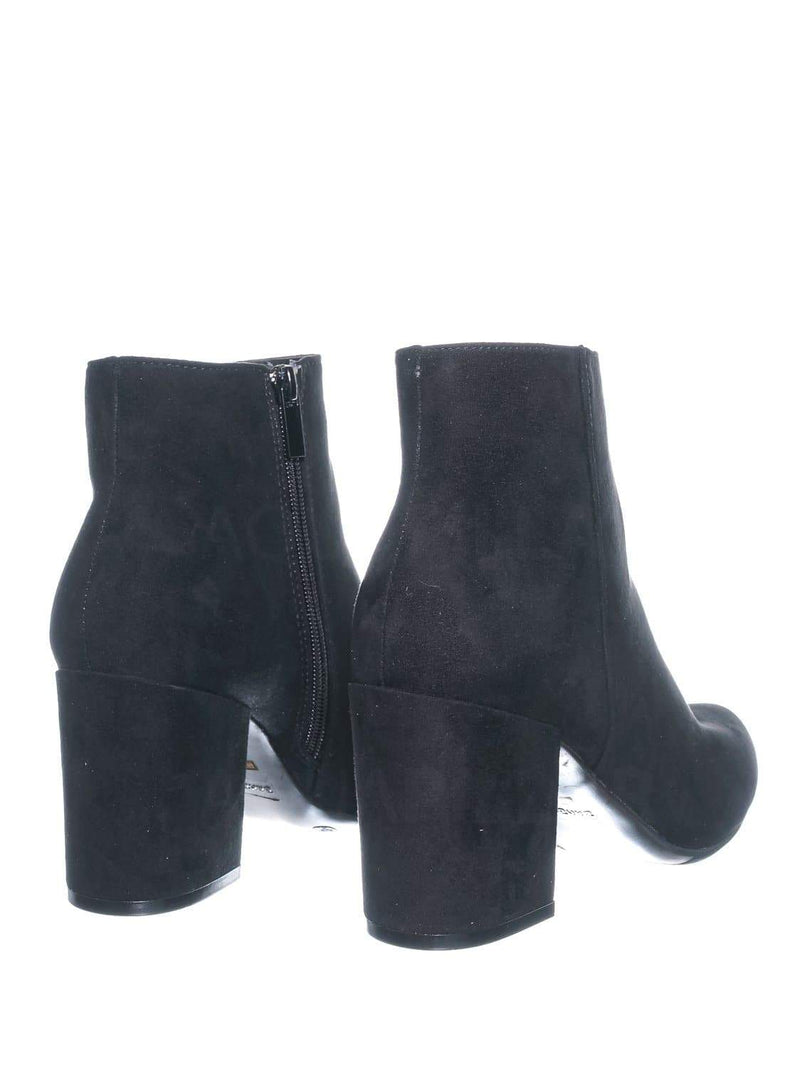 Black F-suede / Vitality04 Black F-suede Ankle High Dress Booties - Women Chunky Heel w Side Zipper Ankle Boot