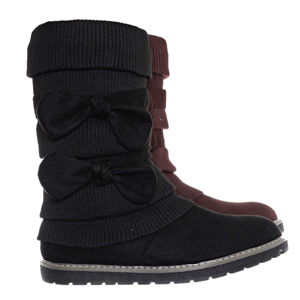 Black / Warm59K Kids Faux Fur Lined Knit Boots w Bow - Little Girls Calf Height Shaft