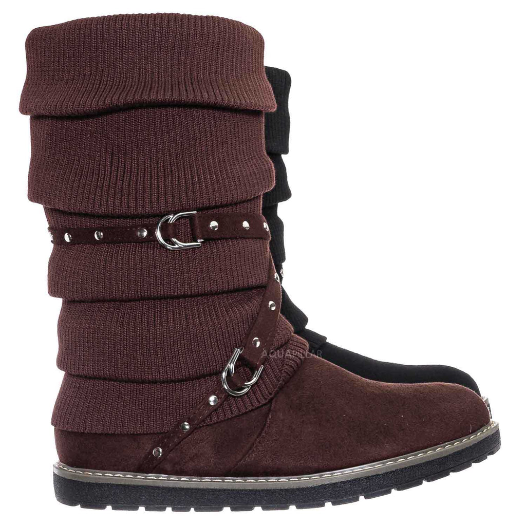 Brown / Warm60 Metal Stud Belted Knit Boot - Faux Fur Lined Calf Height Flat Winter Shoe