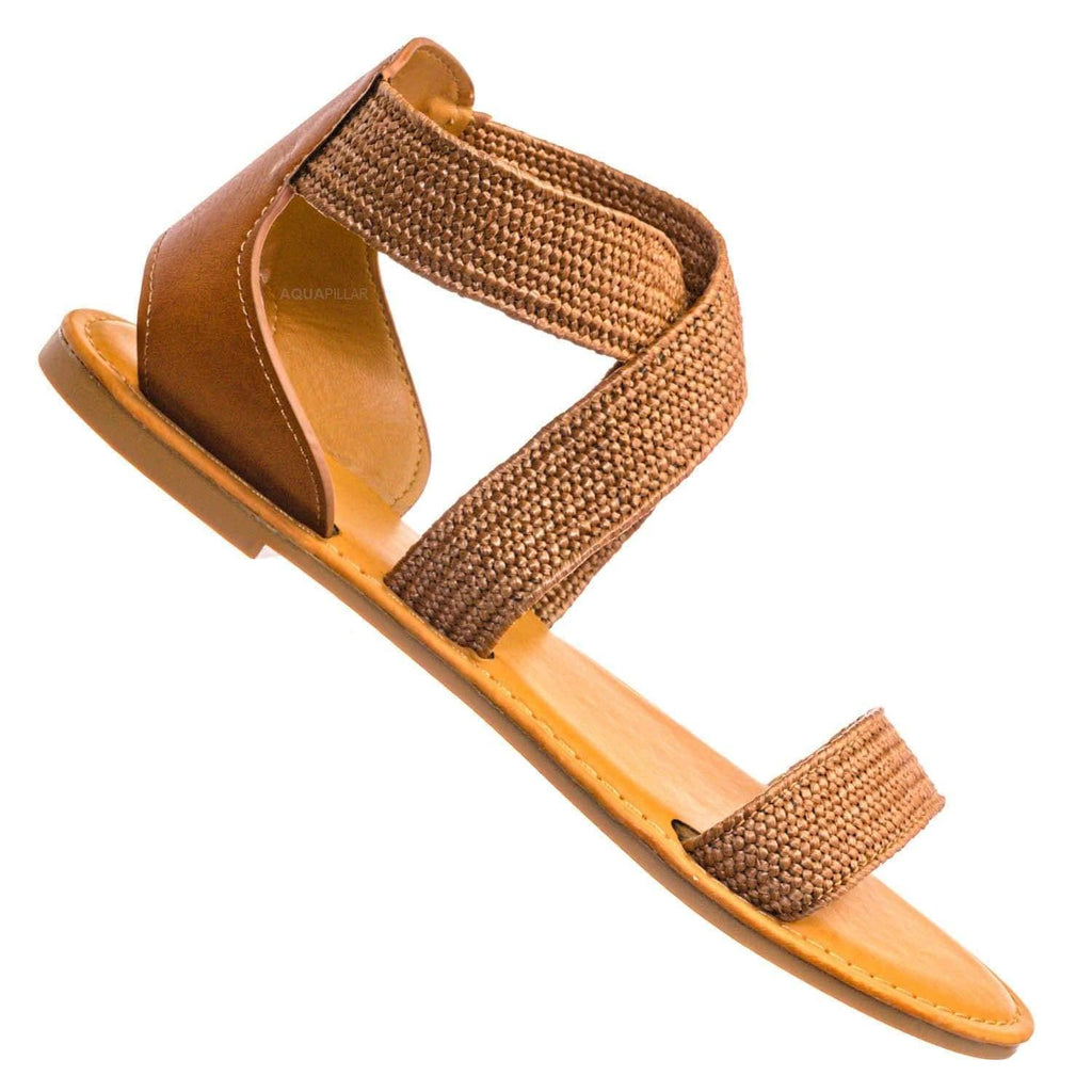Tan Brown / Waterfront22 Elastic Raffia Strappy Sandal -Woven Stretchy Criss Cross Flat Shoe
