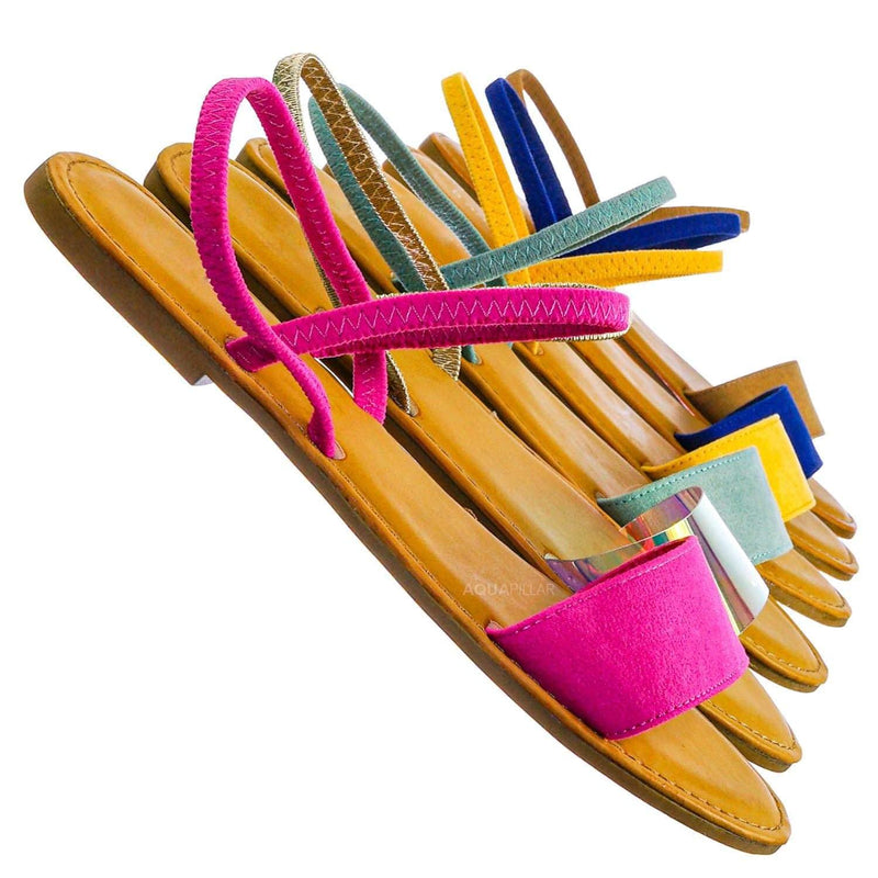 Hot Pink / Waterfront24 Summer Multi Strap Slingback Sandals - Womens Open Toe Elastic Shoe