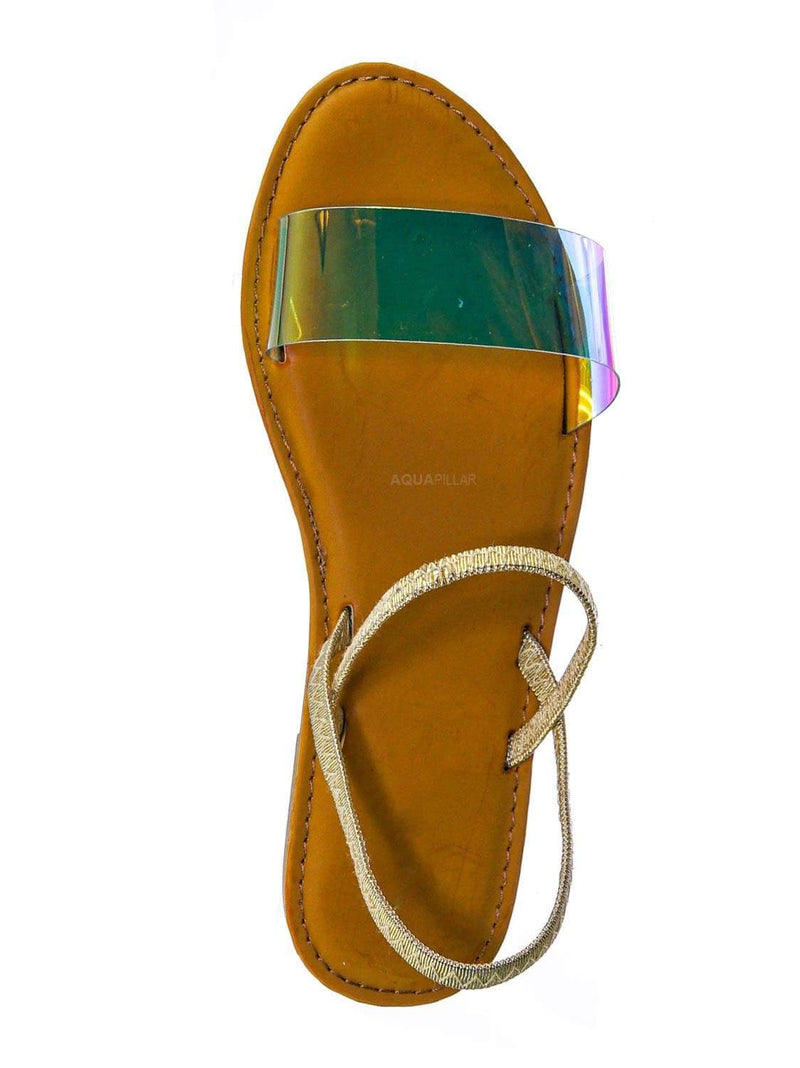 Iridescent PVC / Waterfront24 Summer Multi Strap Slingback Sandals - Womens Open Toe Elastic Shoe