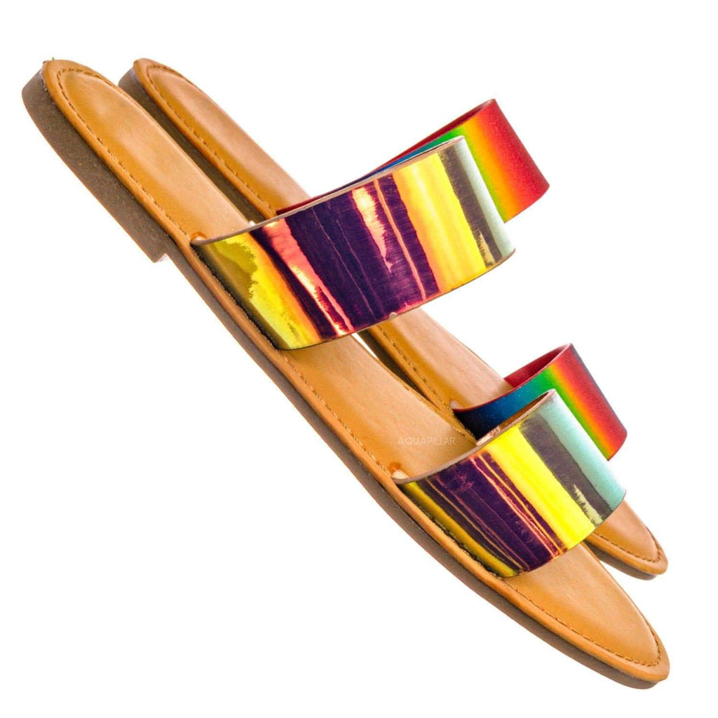 Waterfront74 2 Strap Flat Slide In Sandal - Women Iridescent Double Band Slipper