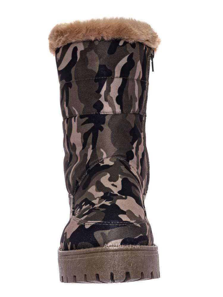 Camouflage / Wildone33 Quilted Nylon Faux Fur Boots