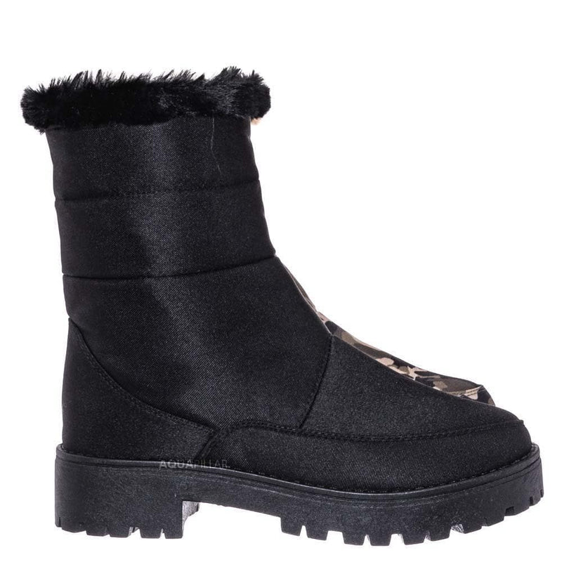 Wildone33 Quilted Nylon Faux Fur Boots