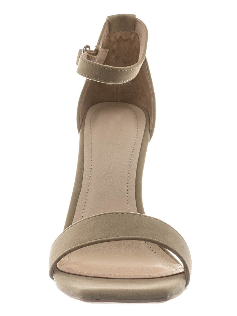Nude Beige / Witcher03 Barely There Thin Block Heel Sandal - Womens Open Toe Dress Shoe