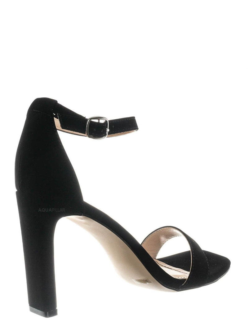 Black Nubuck / Witcher03 Barely There Thin Block Heel Sandal - Womens Open Toe Dress Shoe