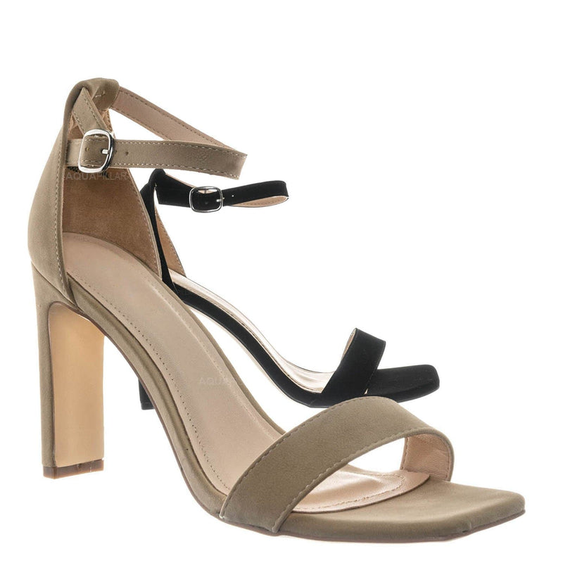 Witcher03 Barely There Thin Block Heel Sandal - Womens Open Toe Dress Shoe