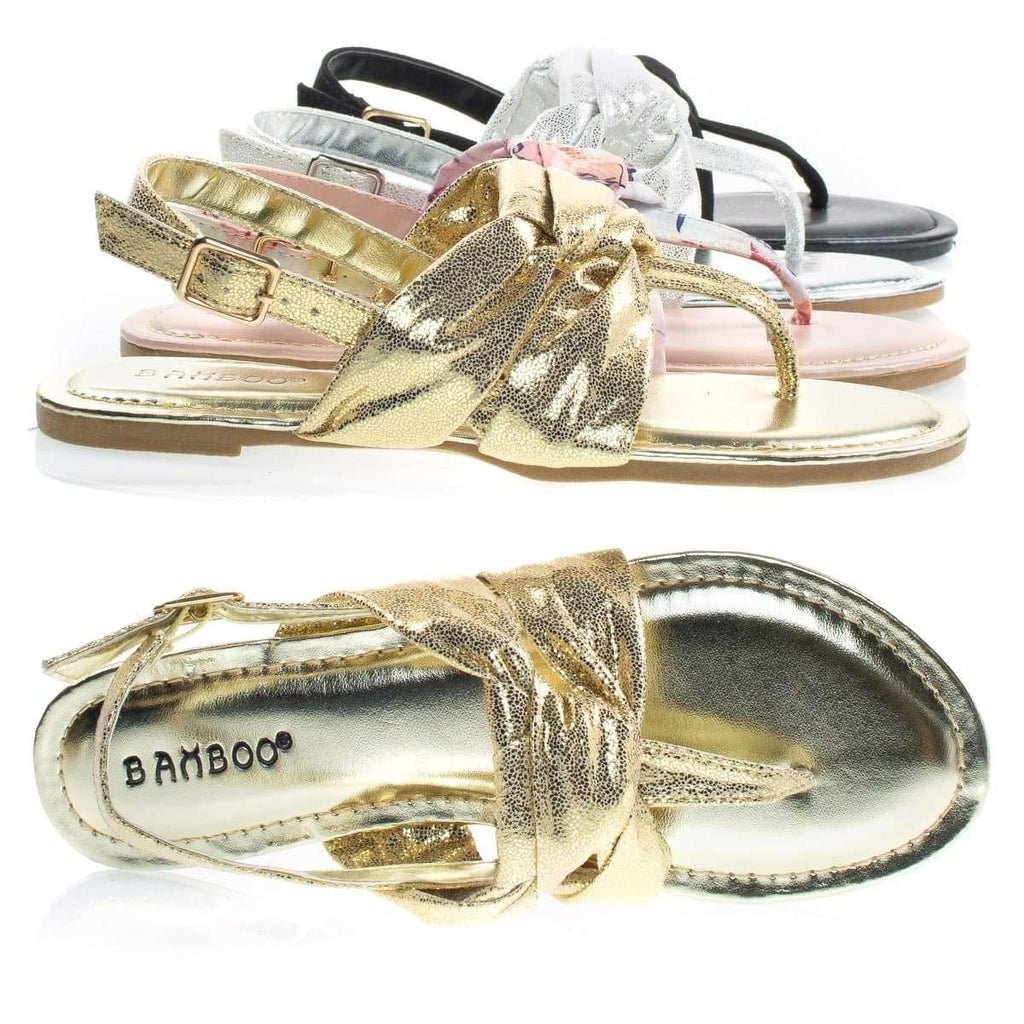 Yolo24s By Bamboo, Women's Flat Thong Sandal W Metallic & Print Fabric In Sling back Strap