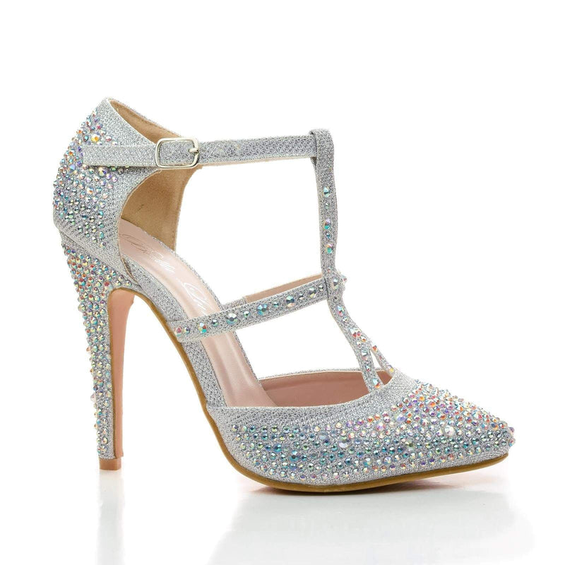 Zina By Bella Luna, Rhinestone Studded T-Strap Stiletto Dress Heels