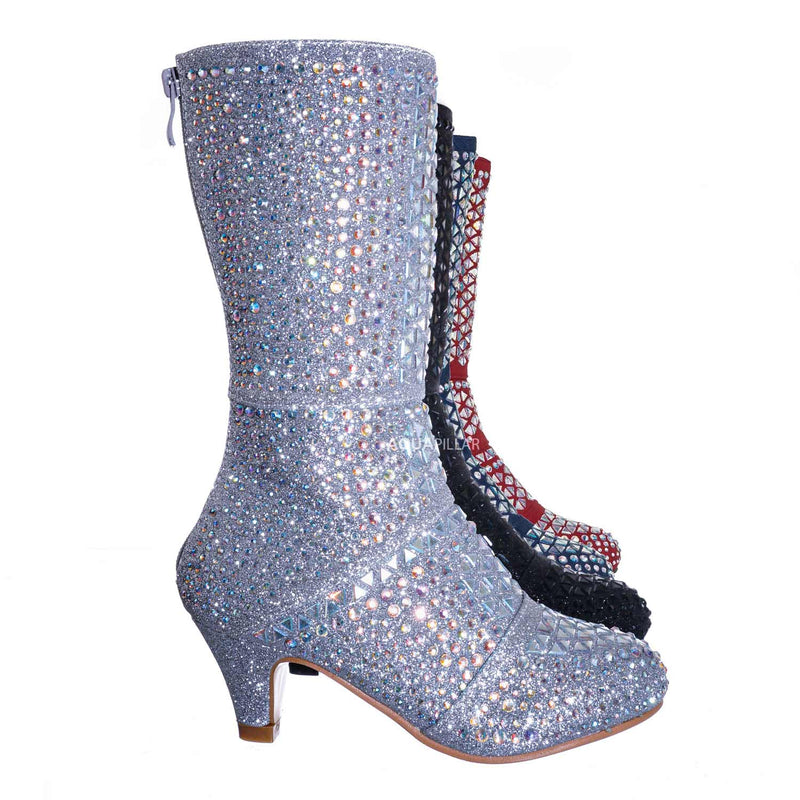 Silver Metallic / Event99K Kids Tall Rhinestone Crystal Glitter Boots - Girl Shimmering Dress Shoe