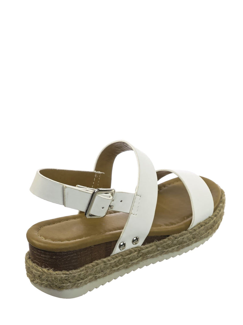 White Pu / Sensational2K White Pu Children Espadrille Flatform Sandal - Girl Kids Open Toe Platforms