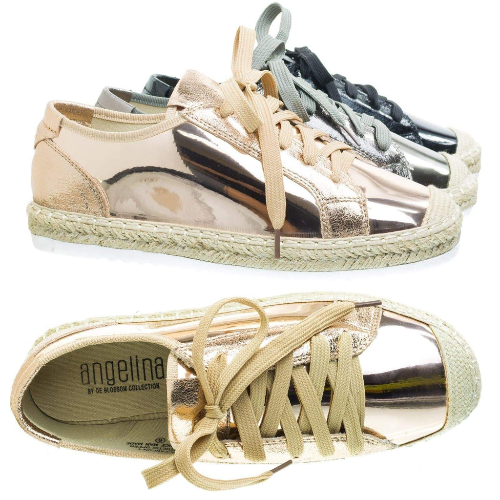 aCancun1 Espadrille Lace Up Sneaker w Metallic & White Lug Outsole.