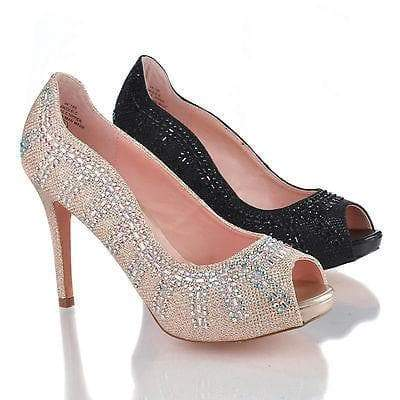 Angle5 By Blossom, Peep Toe Wavy Design Platform Rhinestone Studded Pump Dress Heels