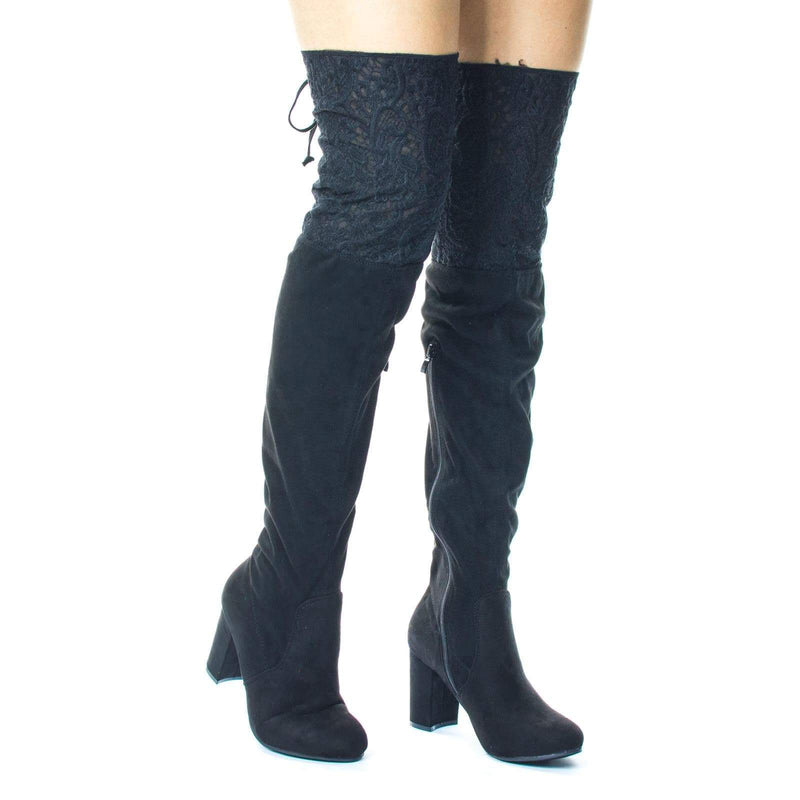 Annie2X Block Heel Over Knee Boots w Lace Embroidery Panel & Rear Corset Lace Up