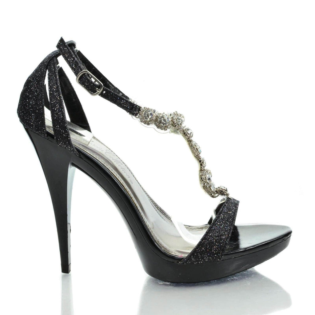 Beyonz32 Black Glitter By Blossom, Sparkling Open Toe Rhinestone Studded T Strap Stiletto Dress Heel