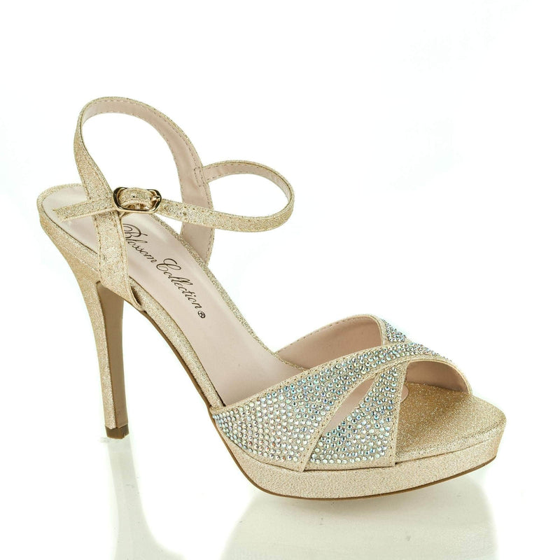 Ella5 Nude Sparkle By Blossom, Cut Out Peep Toe Rhinestone Sling back Low Platform Stiletto Heels